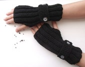 Black Warm Fingerless Gloves - Wrist Warmers-Ready For Shipping