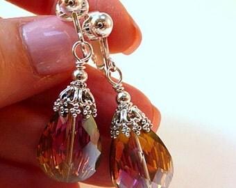 Crystal Drop Earrings, purple colorized, peacock effect, pear shape drops, silver, clip on earrings, leverback earrings, wedding earrings