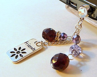 Cell phone charm, dust plug, beaded charm, friends, purple, crystal, fire polish beads, bling, iphone, android, handmade