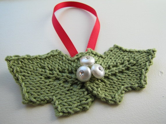 Knitted Mistletoe Ornament - (price is for one)