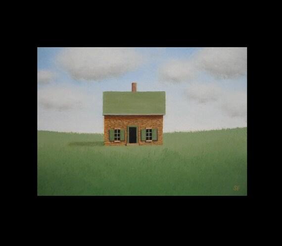 Farmhouse Painting  Old Stone House 5 x 7 Landscape Folk Art Gift Original HEARTLAND Fine Art Painting
