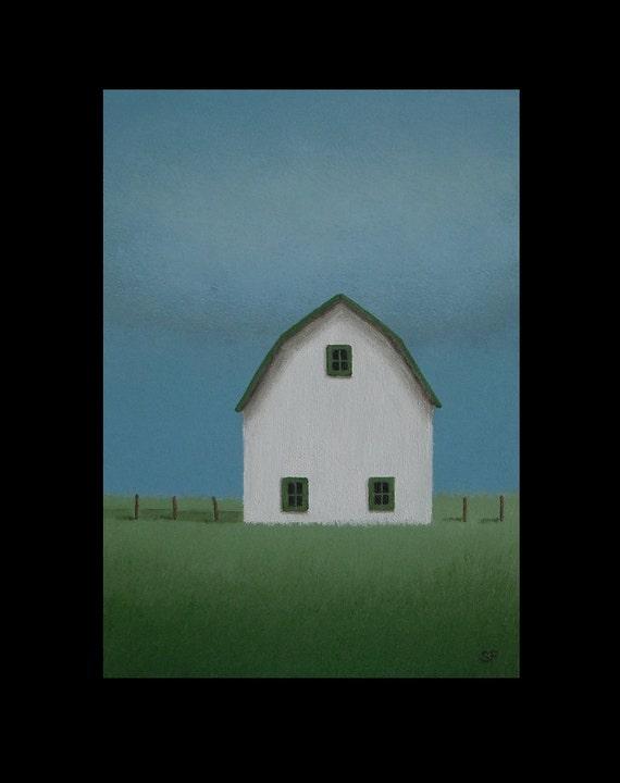 "BARN Painting Art 7 x 5"" STUDY Small FARM Landscape Folk Original Heartland Painting Folk Rustic Vintage Style Country Rural Art Gift"