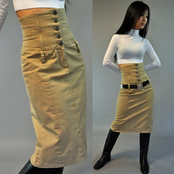 vintage 80s pencil skirt high waisted skirt khaki skirt