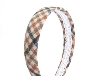 Shepherd's Checkered Headband - Tan, Pumpkin Orange, Green and Beige - Blair Waldorf Preppy Headbands - Covered Headbands Adults or Girls
