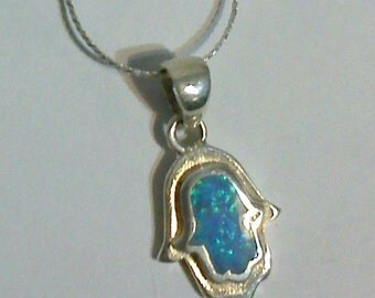 opal silver hand hamsa symbol of luck and protection