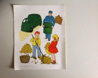 1960s Vintage School Mini Poster. Sanitation Worker