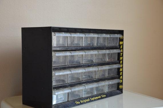 Industrial Chic.  Metal Weatherhead Parts Organizer and Storage.