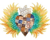 Winged Heart, Keyhole Lock. Everyday is Extraordinary. Watercolor, Mixed Media Art Print in Southwestern Colors, Turquoise, Yellow, Brown.