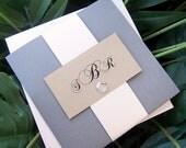 Custom Pocketfold Wedding Invitation: Gold, Grey, Gray, Ivory, Wedding Invitation, Monogram Pocketfold Invitation, Glitz Wedding Invitation