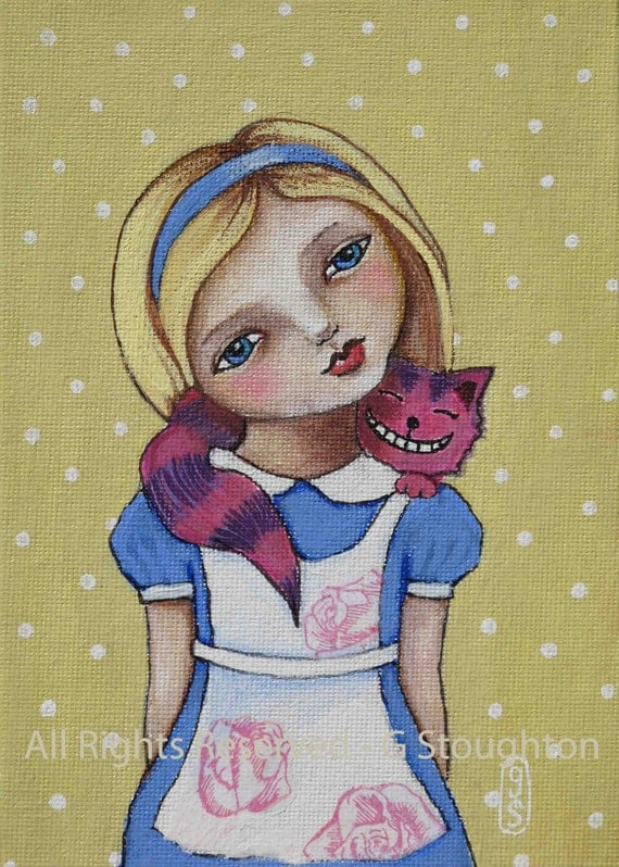Alice in Wonderland with Cheshire Cat - 5 x7 inch Original Painting