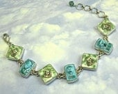 Sterling Silver Bracelet 1920s Vintage Glass Bracelet Egyptian Art Deco Jewelry