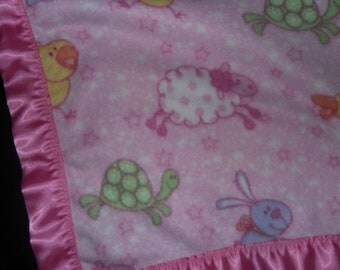 Little Chicks  turtles bunny rabbits yellow ducks  and Lambs Fleece Blanket with Pink Satin Binding