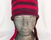 Aviator Ear Flap Hat - Knit - Adult - Pink and Purple Stripes - 100% Acrylic