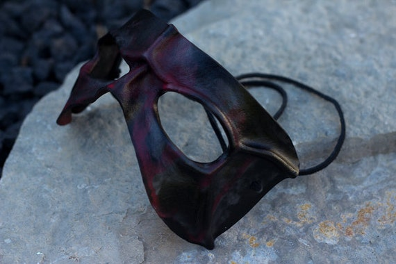 Red and Black Handmade Leather Mask