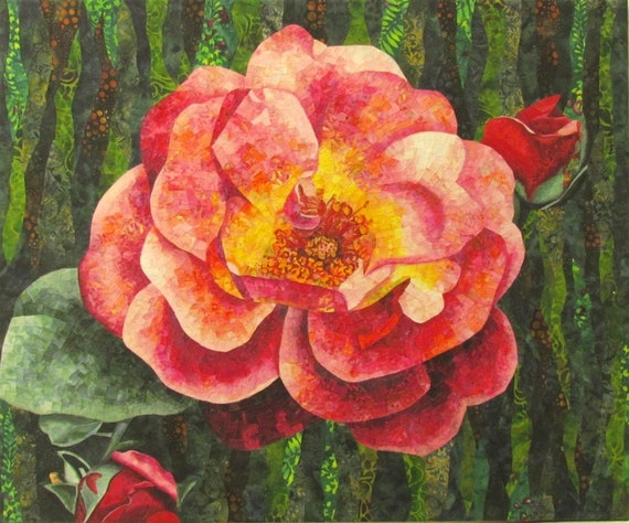 Pink Rose Original Fiber Collage by Lenore Crawford