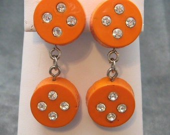 Long Earrings Rhinestone Orange Wood Vintage