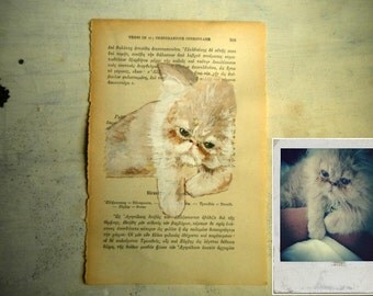 custom pet portrait painting original in watercolor and tempera on page of old book , made to order - recycled book