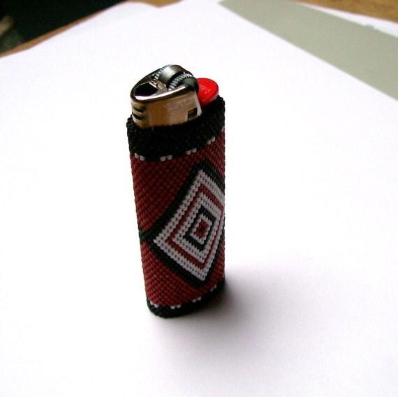 Lighter Cover Peyote Stitch Alaska Native Button Blanket