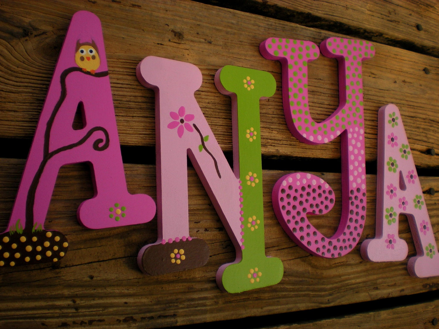 Nursery letters baby name letters whimsical font owl and for Baby name letters for nursery