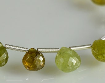 Grossular Garnet  Briolettes AAA Grossular Heart  Gemstone Beads Micro Faceted