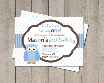 Owl Birthday Party Invitation - Blue & Brown Owl Invite - Look Whoo's Turning One Digital Printable Invite