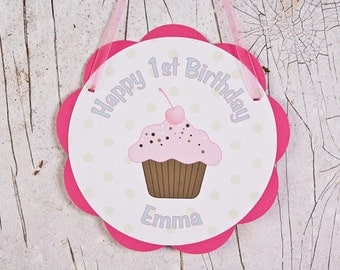 Cupcake Party Supplies - DOOR SIGN - Happy Birthday Party Decoration - Sweet Treats Birthday Party