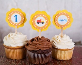 Construction Theme Cupcake Toppers - Construction Happy Birthday Party Decorations