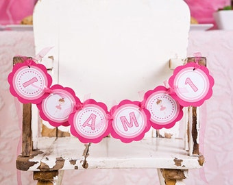 Ballerina Themed Birthday Party Sign - I am 1 MINI BANNER - in Hot & Light Pink