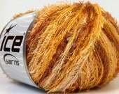 ice yarns sale eyelash yarn brown cream yellow 50gr 1 skein lurex polyester ship from usa at usps cost 24729