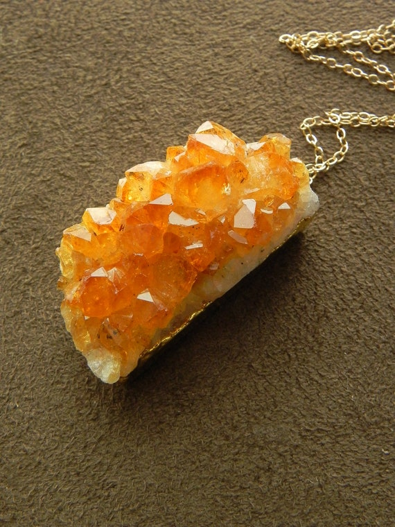 Natural Warm Citrine Drusy Cluster Pendant and 14kt Gold Filled Long Necklace geode druzy