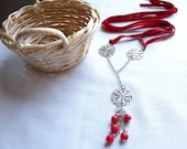 Red coral necklace - filigree lace flower - suede