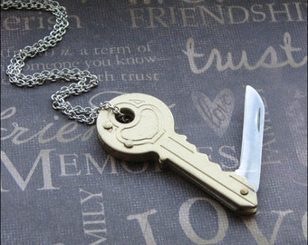 Gold Pocket Knife Necklace - Enchanted Key Knife - Jewelry By TheEnchantedLocket - UNISEX Groom Birthday Anniversary Gift
