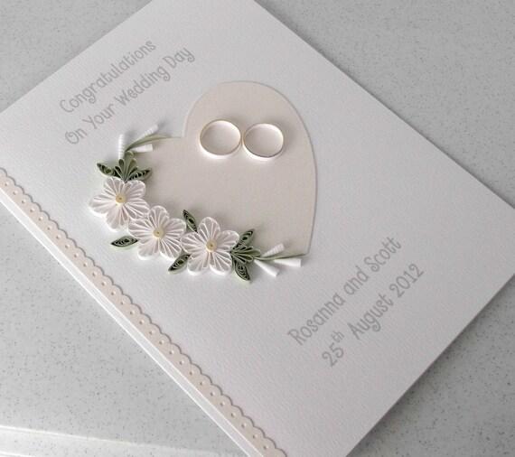 Carte de mariage piquants, papier quilling, personnalisé