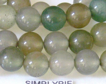 8mm Round Green Agate Gemstone Beads Full Strand