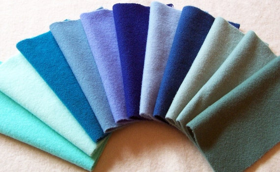 Hand Dyed Felted Wool, 8in.x 8in. - Blue/Aqua Shades - for Applique, Penny Rugs, Sewing Projects / W1114