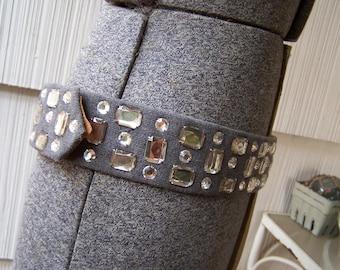 Rhinestone Leather Belt Vintage  size 12 Gray