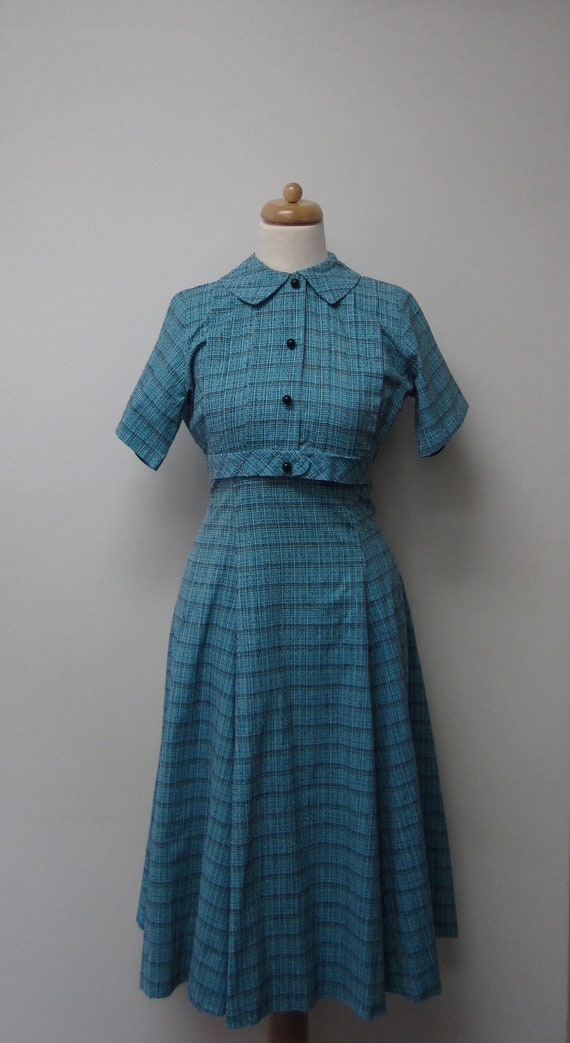 1940's / 50's Shirtwaist Dress / Vintage Turquoise Cotton Dress with B & W Embroidered / Print