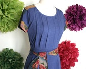 Womens Tshirt Tunic Dress Pleated Pockets, Pockets, Solid Cotton Jersey with Japanese Floral Print Trim - MARINA