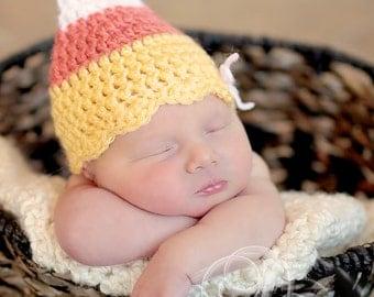 Newborn Halloween, Newborn Crochet Candy Corn Hat, Crochet Newborn Halloween Photo Prop