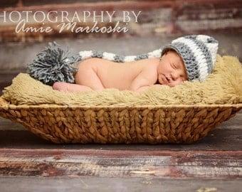 Newborn Elf Hat elf hat gender neutral newborn photo prop crochet elf hat stocking hat long tail elf hat baby hat elf hat with tail baby hat