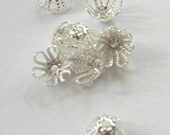 100 Beadcaps, flower, Silver-plated brass Filigree Bead Caps 7mm (B-12)