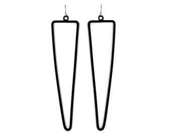 matte black triangular line earrings