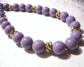 """Vintage - Chunky Beaded Purple Necklace - With Golden Accents - """"Ghosts That We Knew"""""""