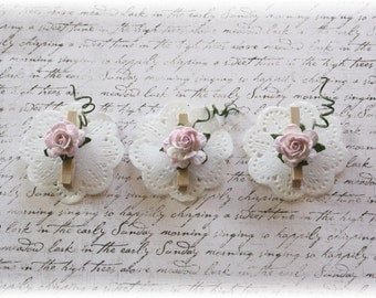 Mini Wooden Clothes Pin Doilie Embellishment for Scrapbooking, Cardmaking, Altered Art, Shabby Rose
