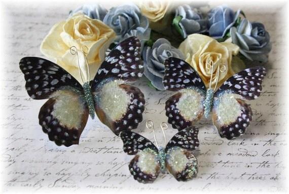 Vanilla Sky Glitter Glass Butterflies for Scrapbooking, Cardmaking, Tag Art, Mixed Media, Wedding