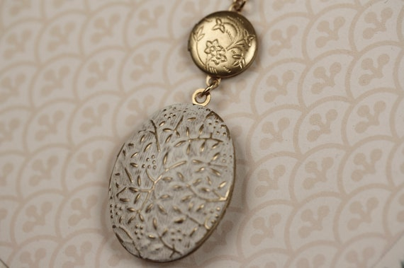 Long White Double Locket Necklace, Gold Chain, Small Vintage Vines,  Floral, Whimsical Two Pendant Design, Oval and Round Duo