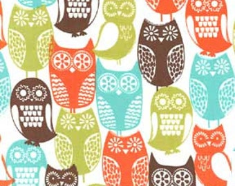 1/2 yard -Swedish owls in Brown,  Michael Miller Fabrics