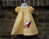 FSU garnet and gold applique spear peasant dress, sizes NB-18 month