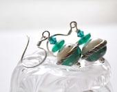 Teal Green Earrings, White Green Polka Dot, Lampwork Glass Earrings, Swarovski Crystal, Sterling Silver Ear Wires
