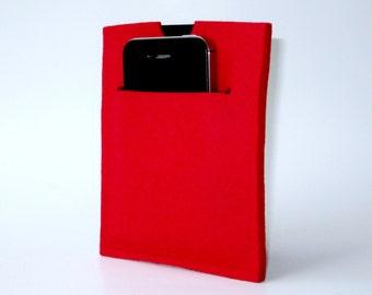 Slim red felt passport wallet...holds mobile or paper boarding pass...family passport holder...unisex travel wallet...merino wool...on sale!